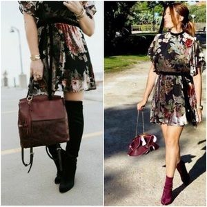 ZARA Devore Velvet Mini Dress sz Medium